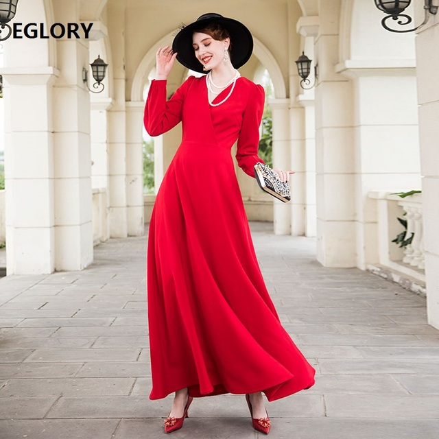2018 Fashion Red Long Dress High Quality Women V-Neck Formal Party Long  Sleeve Maxi Dress Plus Size Vestidos Special Occasion 21c4456936ca