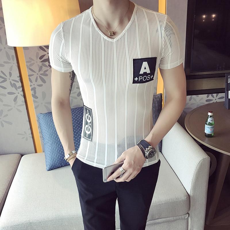 2018 New Summer Korean Slim Slim V-Neck T-Shirt Male Translucent Net Yarn Short Sleeve Clothes Nightclub Hair Stylist Tide Sexy