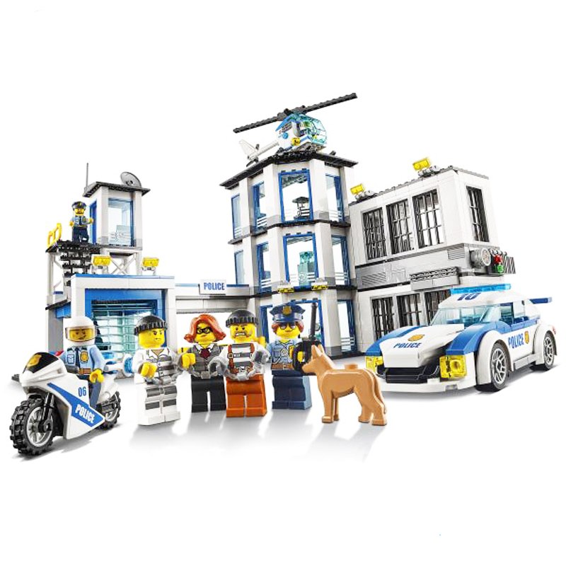 965Pcs City Serie The New Police Station Set Building Blocks Bricks Educational Toy Compatible with Legoingly 60141 for Kids dhl lepin 02020 965pcs city series the new police station set model building set blocks bricks children toy gift clone 60141