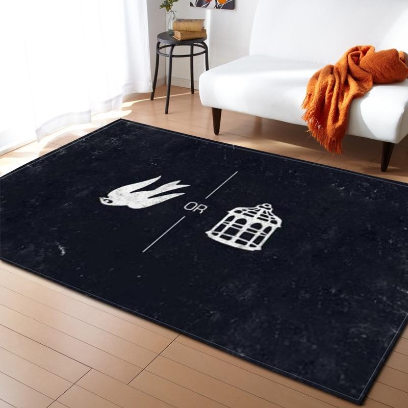 Simple noir bleu lettre impression tapis doux et tapis 3d tapis pour le salon moderne enfants tapis Burrito couverture