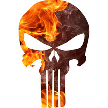 10.4CMX15.8CM Punisher Skull Fire Flame Reflecterende Decoratieve Auto Sticker C1-6032(China)