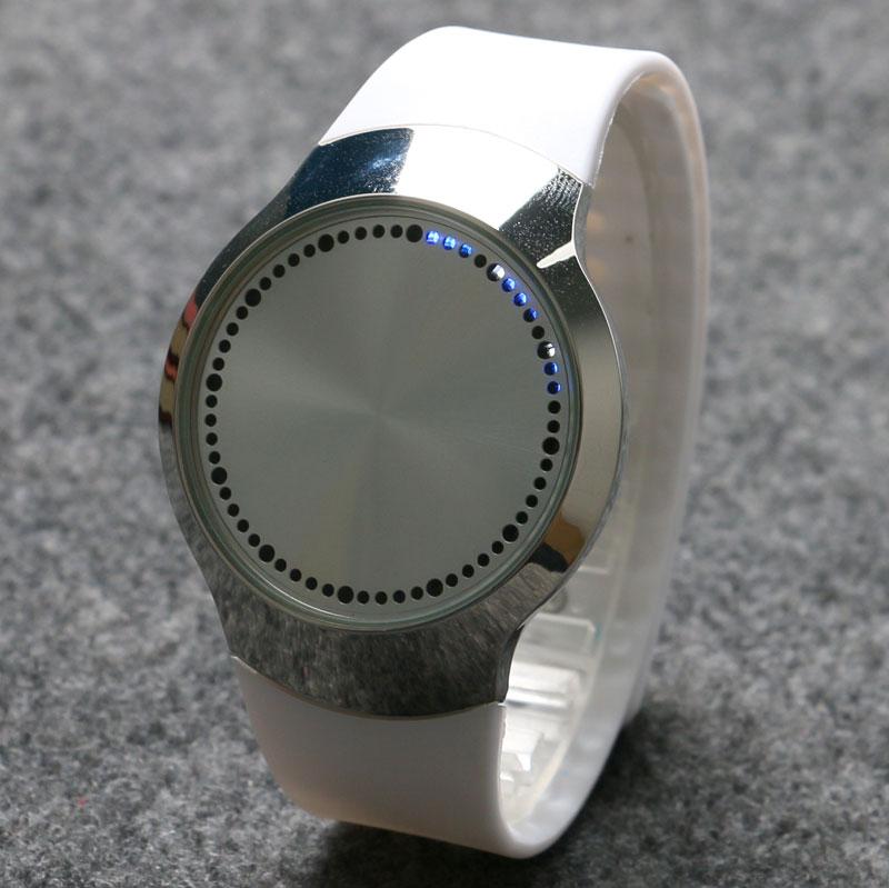 Touch Screen LED Analog Wrist Watch Quartz Silicone Band Men Lady White Unisex Sports Casual men s military style fabric band analog quartz wrist watch black 1 x 377