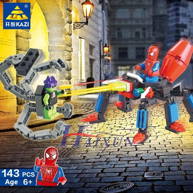 143Pcs Spiderman VS Green Monsters Model Super Heroes War Building Blocks Sets DIY Bricks Educational Toys for Children