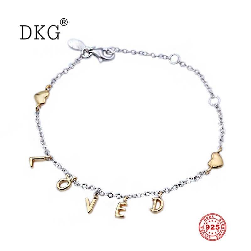 11e8f1092c 100% 925 Sterling Silver Valentine's Day Shine Fashion LOVED Letter Love  Script Bracelet Fit for