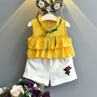 Toddler Girls Clothing Sets Chiffon Wave Ruffle Vest Shorts Two Pieces Bow Tie Embroidery Rose Flower
