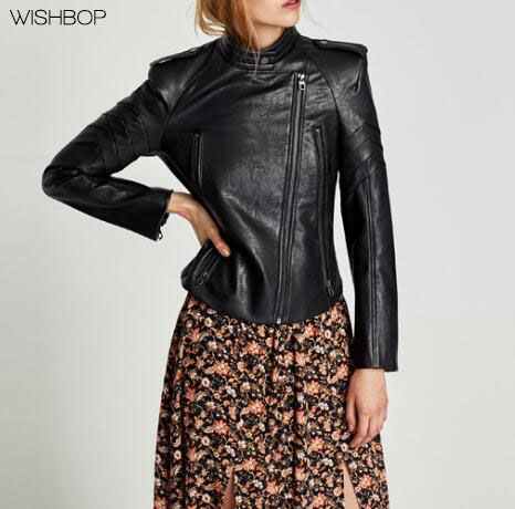WISHBOP NEW 2017 Fashion Black FAUX LEATHER JACKET WITH SHOULDER PADS high collar Snap Button long sleeves Contrast Red Lining