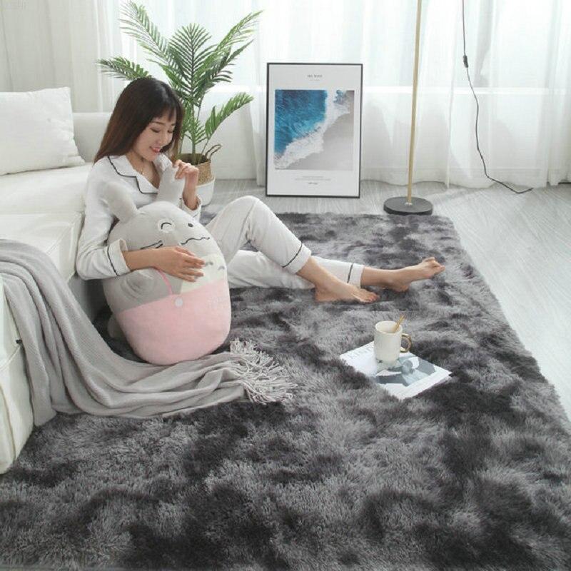 Couverture de chevet de chambre à coucher en peluche teinte à la cravate tapis de salon nordique Ins vent belle couleur doux moelleux tapis Shag