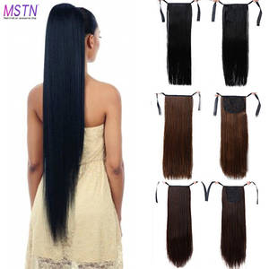 Headwear Extended Ponytail-Hair Synthetic-Hair-Fiber 30-Inch Brown Heat-Resistant Black