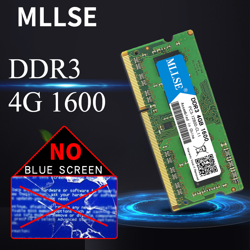 Mllse Laptop <font><b>Sodimm</b></font> Ram <font><b>DDR3</b></font> <font><b>4GB</b></font> 1600mhz 1.5V memory For notebook PC3-12800S 204pin non-ECC Notebook RAM memoria image