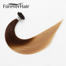 """FOREVER HAIR 0.8g/s 16"""" 18"""" 20"""" Remy Nail U Tip Extensions Two Tone Ombre Color"""