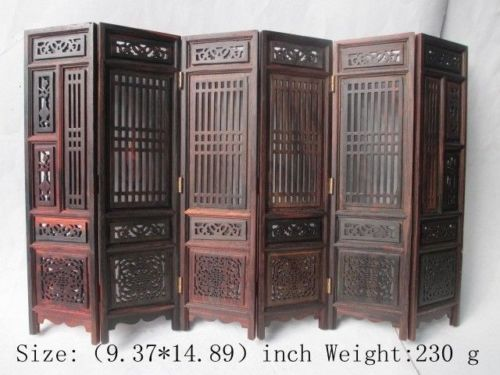 ( Mini )Exquisite Chinese Classical Hand carved collection of hongshan chicken wings wood folding screen