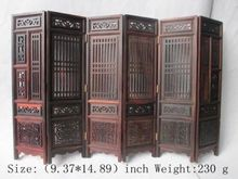 Hand carved Chinese collection of hongshan chicken wings wood folding screen NR6