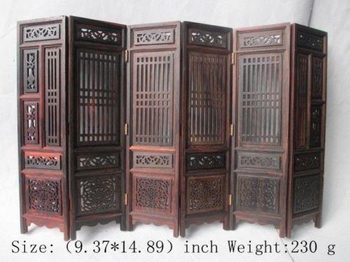 (Mini) exquise collection chinoise classique sculptée à la main d'ailes de poulet hongshan écran pliant en bois