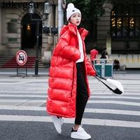 2019 Fashion Women Coat Long Winter Down Jacket Women Plus Size Thicken Harajuku Bread Parka Warm Jacket Hooded Overcoat V179