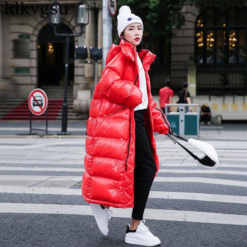 Kadın Giyim'ten Parkalar'de 2019 Moda Kadın Ceket Uzun Kış şişme ceket kadınlar Artı Boyutu Kalınlaşmak Harajuku Ekmek Parka Sıcak Ceket Kapşonlu Palto V179'da  Grup 1