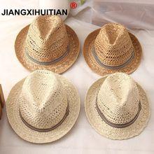 Новая мода ручная работа женская летняя соломенная шляпа от солнца из рафии Бохо Пляжная Шляпа Fedora шляпа от солнца Trilby Мужская Панама шляпа Гангстер Кепка