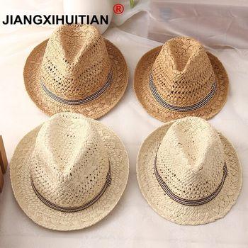 2018 nueva moda Handwork mujeres verano rafia sombrero de paja sol Boho  playa sombrero de sol Trilby hombres Panamá sombrero gorra de gánster cf33db24d62