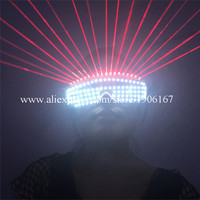 New Design Christmas Halloween Led Luminous Red Laser Glasses Party With 18 Pcs Lasers Laserman Glasses