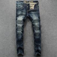 R627 High Grade Mid Stripe Denim Overalls Brand Stretch Jeans Men Pants Waterwashed Slim Fit Men