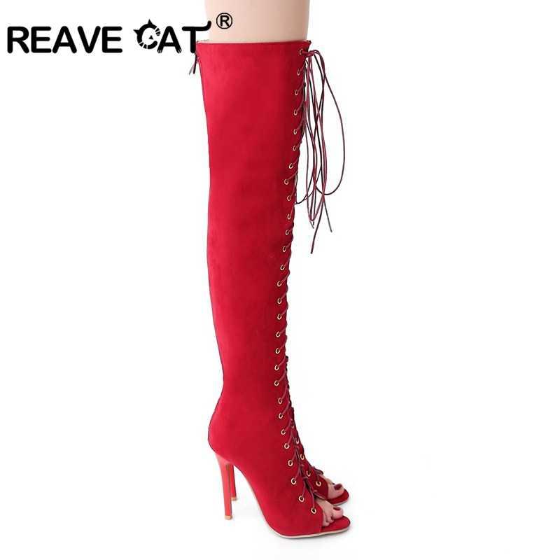 REAVE แมวผู้หญิงฤดูร้อนรองเท้า Peep toe Cross tie Zipper ส้นสูงผู้หญิงรองเท้าสีดำสีแดงขนาดใหญ่ขนาด 32-43 Gladiator เซ็กซี่ A350