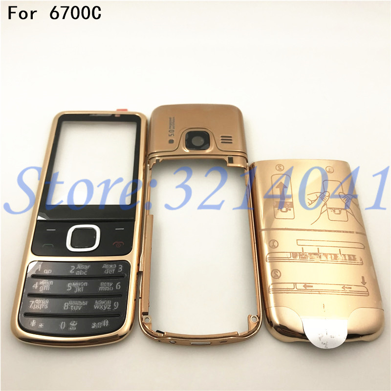 Rear <font><b>6700</b></font> Front Middle Frame Back Cover Battery Door Case For <font><b>Nokia</b></font> <font><b>6700</b></font> 6700C Classic Full <font><b>Housing</b></font> With English&Russia Keypad image