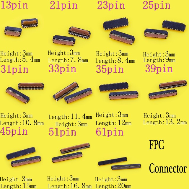 11 models 13p 21P 23P 25P 31P 61pin 51p LCD FPC Connector for Motorola Droid Turbo XT1254 Display PCB Port Universal common used