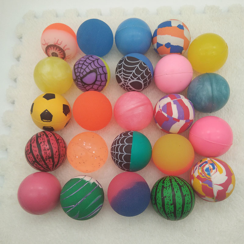 Rubber Bouncy ball toy ball child elastic Mixed color Cartoon Ball kids of pinball bouncy toys for kids Outdoor Game 5pcs 42mm