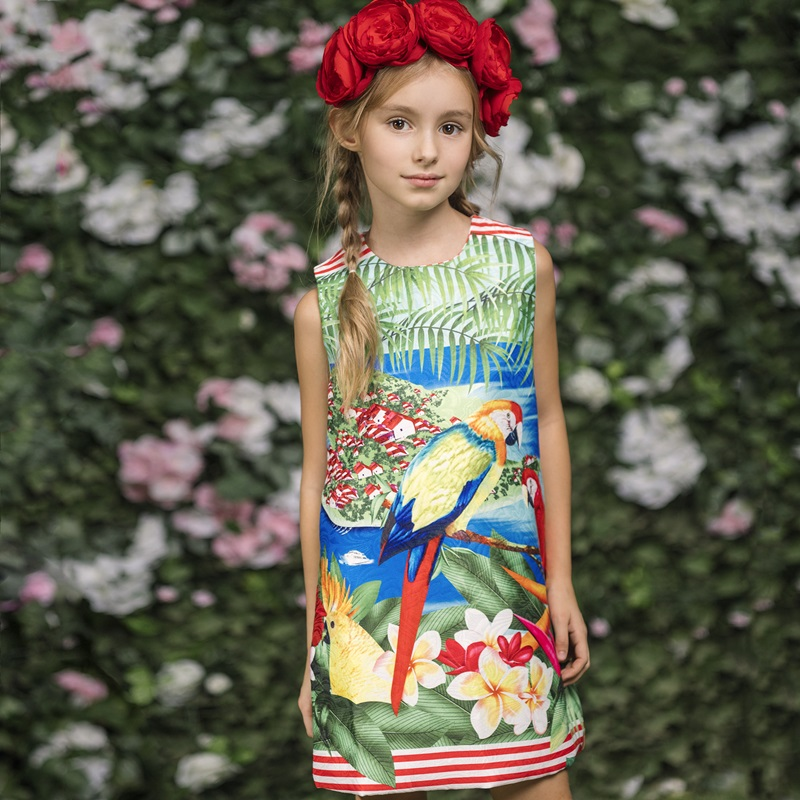 Girls Dresses 2017 Brand Todder Girl Dress Printing Birds Casual Children Clothing Sleeveless Robe Fille Flower Girl Dresses