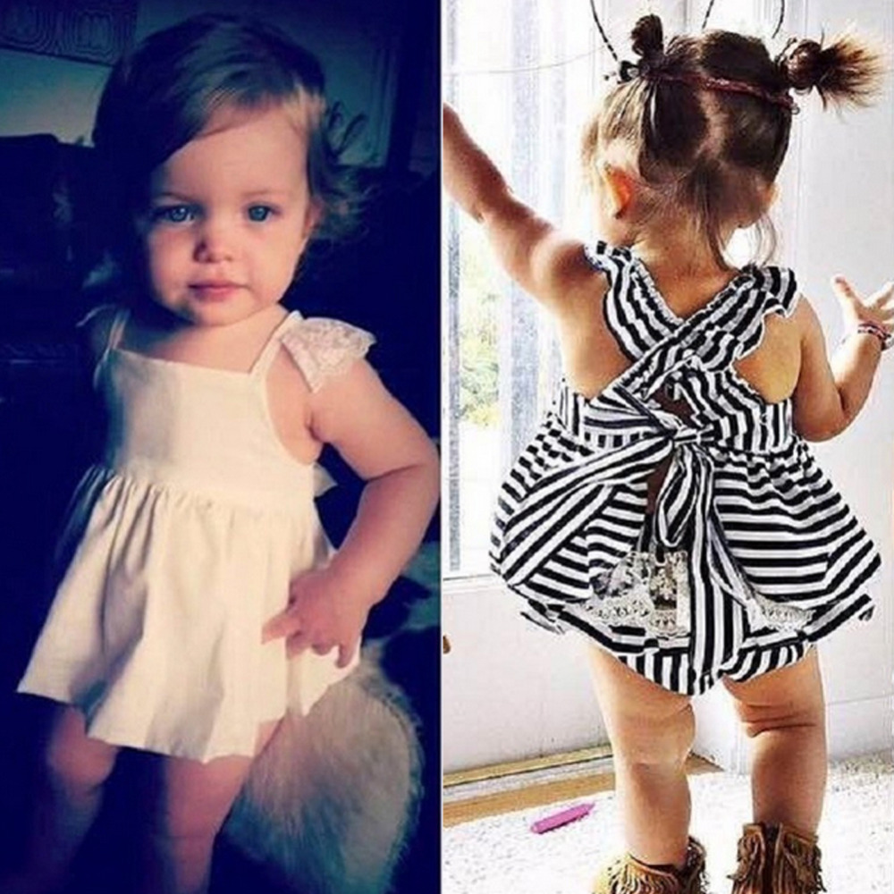 New Summer Newborn Baby Girls Sleeveless Stripe Romper Clothes Set + Shorts Infant Kid 1 Year Birthday Party Princess Dresses Z1