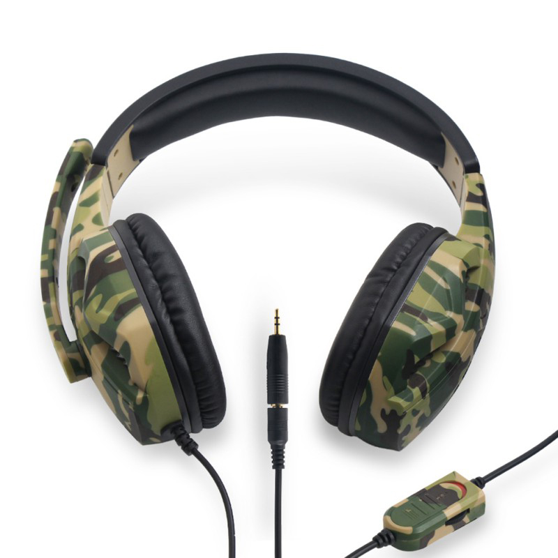 PS4 Camouflage Wired Headphones Over Ear Headset HD Sound Quality Headphone Gaming Earphone with Microphone for PC Mobile Phon in Phone Earphones Headphones from Consumer Electronics