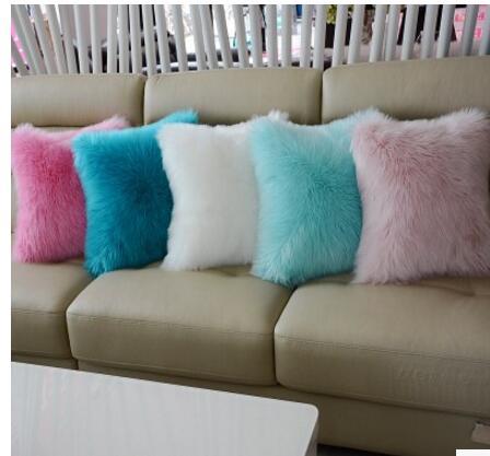 Сплошной цвет шерсти плюшевые наволочка автомобиль подушку без сердечника диван поясничной коврик для офисных стульев плюшевые наволочки ...