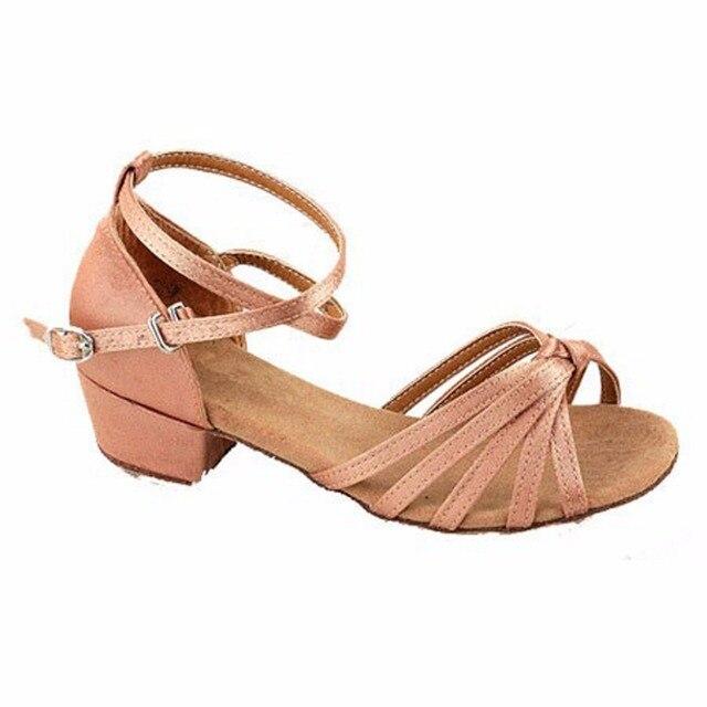 0c348971a 2018 New Design Leopard children latin dancing shoes kids salsa Satin  ballroom tango girls Latin dance shoes low heel 3.5cm