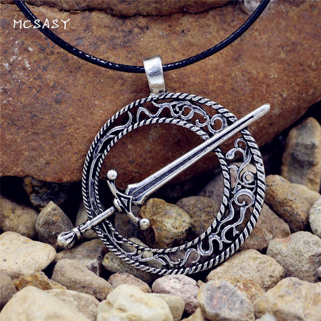 MCSAYS Norse Viking Jewelry Dark Soul Dark Moon Blade Sword Pendant