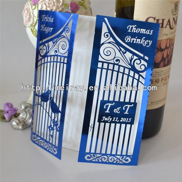 Luxury royal blue wedding invitations birdcage gate laser cut