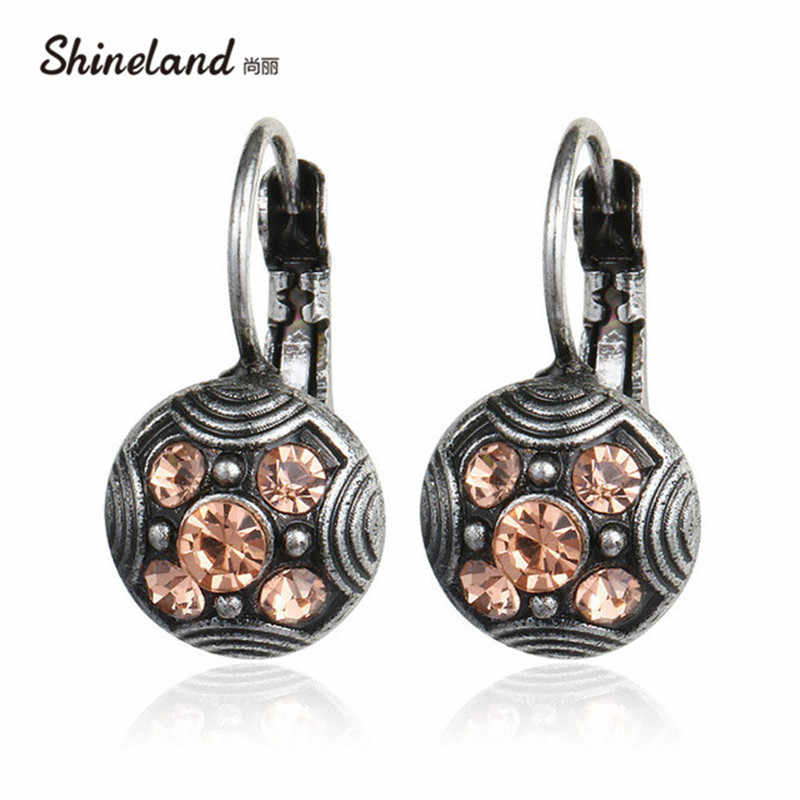 2019 Fashion Ethnic Antique Silver Vintage Carved Pink Rhinestone Brincos Clip On The Earrings For Women Statement Jewelry Gift