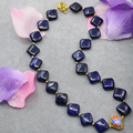 Natural elegant blue lapis lazuli stone jasper 14mm square shape beads necklace gold plated cloisonne women jewelry 18inch B3022
