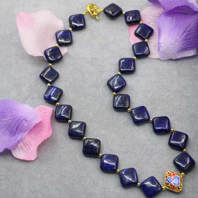Natural elegant blue lapis lazuli stone jasper 14mm square shape beads necklace gold plated cloisonne women jewelry 18inch B3022