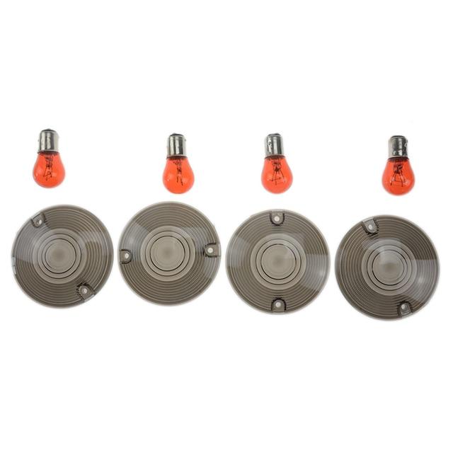4 Pcs motorcycle Smoked Turn Signal Lenses+Amber Bulbs for Harley Davidson Electra Glides Road King