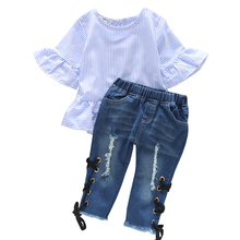 цены Kids Baby Girl Half Sleeves Ruffles Blue Stripes Top + Lace-up Denim Pants Summer Outfits 3Pcs Kid Girls Clothing Set