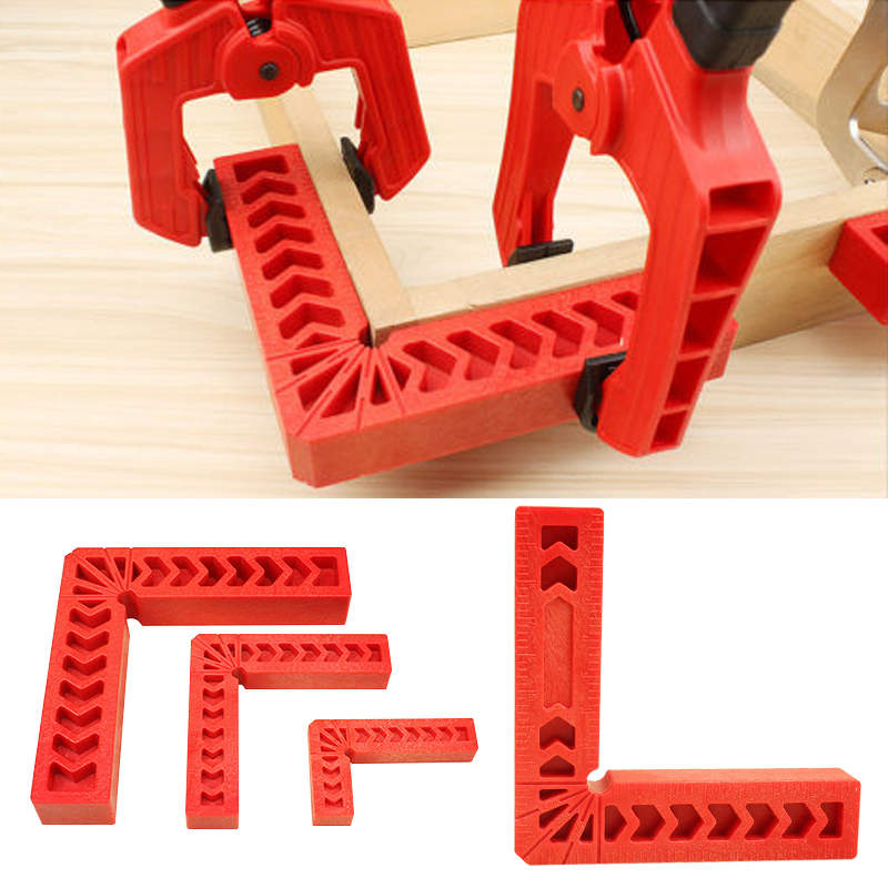 цена на FGHGF 4Pcs/set 8Inch 200*200mm 90 Degree Plastic L Shape Corner Clamping Square Right Angle Clamps Ruler