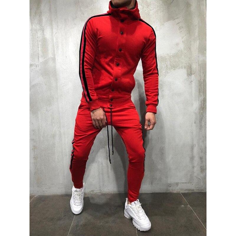 2 Pieces Sets Tracksuit Men New Brand Spring Single Breasted Sweatshirt+Drawstring Pants Male Stripe Patchwork Hoodies Bigsweety