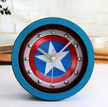 wooden Board vintage alarm clock Captain America 3D shield table clock activated Battery