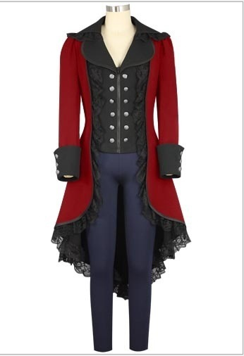 0baf965ca58 Medieval Victorian Costume Gothic Steampunk Tuxedo Tailcoat Trench Coat  Frock Outfit Overcoat For Adult Men Women
