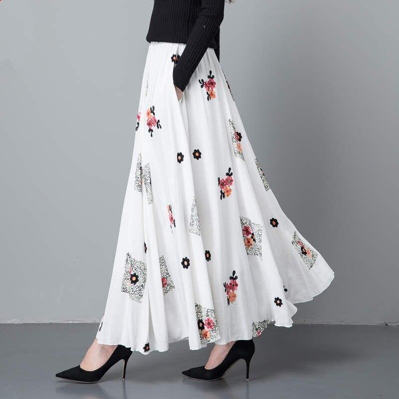Maxi Imprimer Plissée 1 5 Printemps Coton Femmes Taille 12 Vintage Haute Élégant Jupe Lin C4380 8 Mujer 2 Longue 11 Faldas Saias 3 4 7 10 6 9 9eWbED2YHI