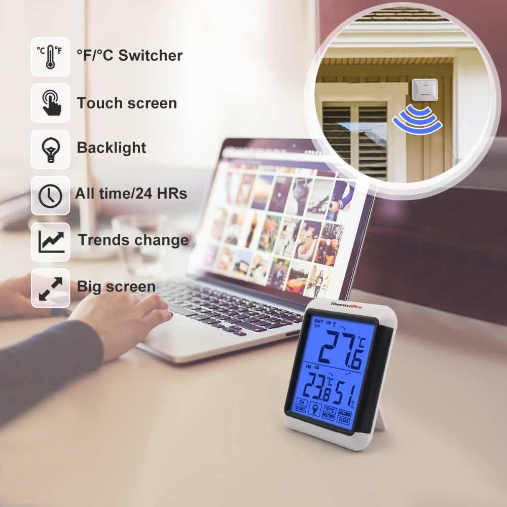 cb59c9d61 ... Termómetro TP65S 60 M higrómetro Digital inalámbrico temperatura  exterior humedad Monitor negro pantalla táctil estación meteorológica ...