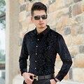 2016 Новых Осень Мужская Мода Шаблон Рубашки Мужчины Бизнес С Длинным Рукавом Золото Бархатное Платье Рубашки