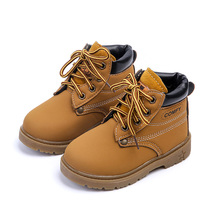 Autumn Winter Fashion Child Leather Snow Boots For Girls Boys Warm Martin Boots Shoes Casual Plush Child Baby Toddler Shoe