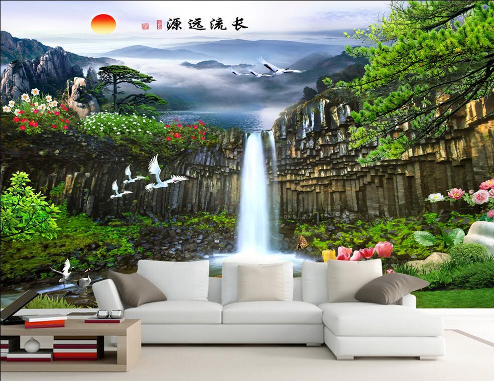 Custom photo 3d wallpaper mountain waterfall crane scenery room decoration painting 3d wall murals wallpaper for walls 3 d Обои