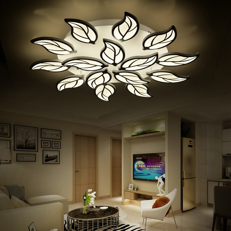 led chandelier for bedroom living room leaf design lustre moderne led chandelier lighting indoor. Black Bedroom Furniture Sets. Home Design Ideas