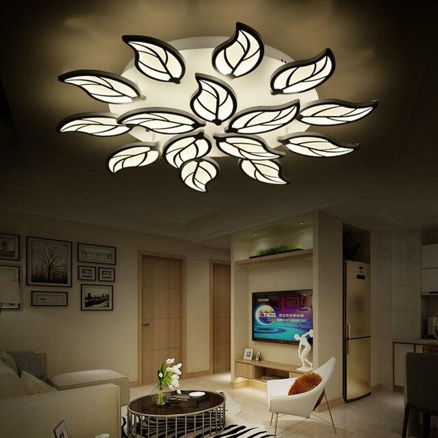 Led chandelier for bedroom living room leaf design lustre moderne led chandelier lighting indoor chandeliers lights